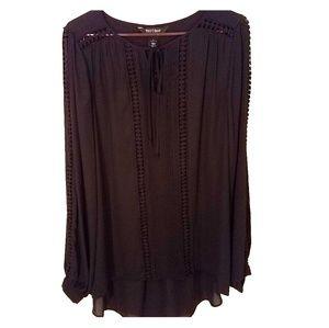 WHBM black drapey geometric high-low long sleeve